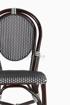 Iry Black Dining Arm Wicker Bistro Chair detail