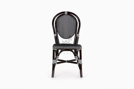 Iry Black Dining Arm Wicker Bistro Chair front