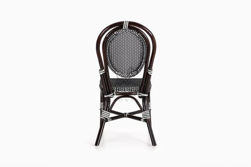 Iry Black Dining Arm Wicker Bistro Chair rear