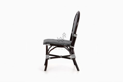 Iry Black Dining Arm Wicker Bistro Chair side