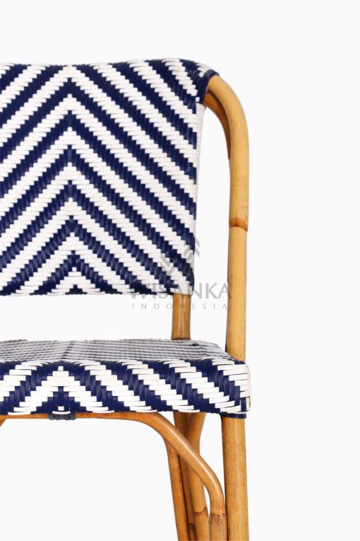 Jova Wicker Rattan Blue White Bistro Chair detail