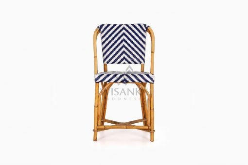 Jova Wicker Rattan Blue White Bistro Chair front