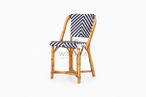 Jova Wicker Rattan Blue White Bistro Chair perspective