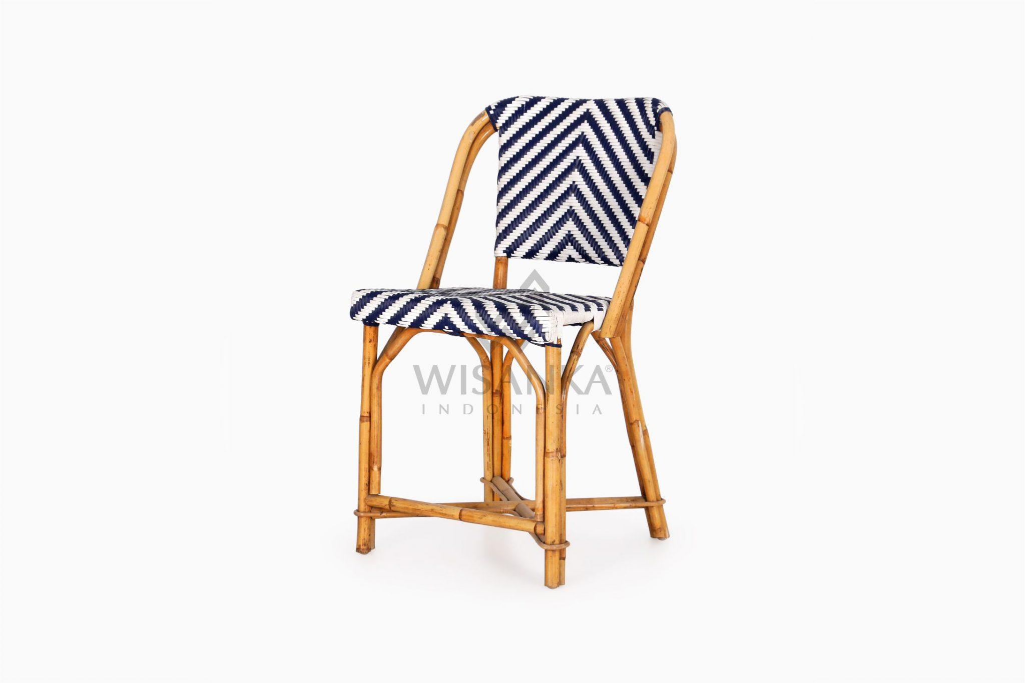 Jova Wicker Blue White Bistro Chair