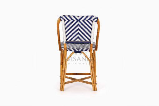 Jova Wicker Rattan Blue White Bistro Chair rear