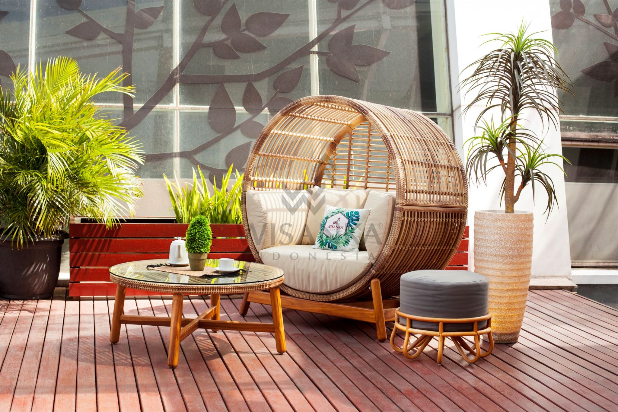 Orza Outdoor Rattan Daybed Set Synthetic Rattan Furniture