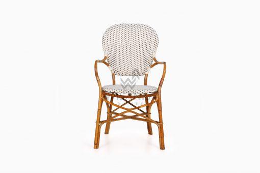 Tira Wicker White Bistro Chair front