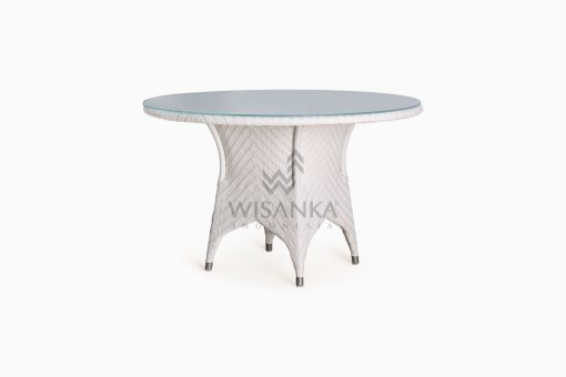 Frey Round outdoor wicker Dining Table perspective