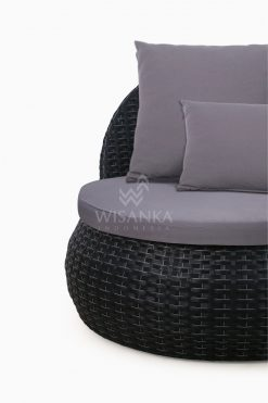 Huvan Occasional Wicker Chair Black with Seat and Pillow Detail