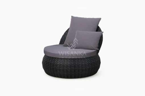 Huvan Occasional Wicker Chair Black with Seat and Pillow perspective