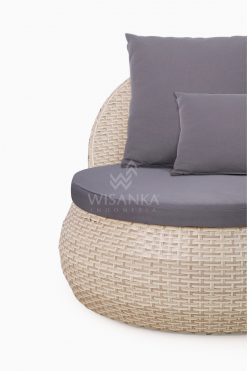 Huvan Occasional Wicker Chair White with Seat and Pillow Detail