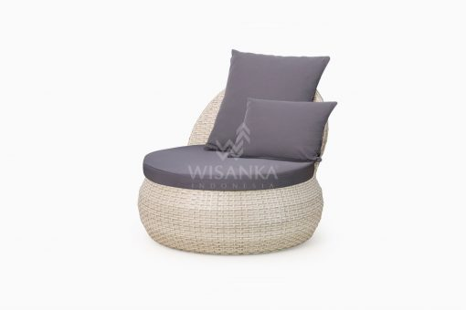 Huvan Occasional Wicker Chair White with Seat and Pillow perspective