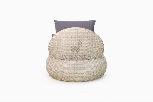 Huvan Occasional Wicker Chair White with Seat and Pillow rear