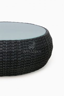 Huvan Rattan Outdoor Wicker Coffee Table Black Detail 1