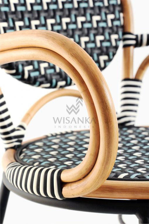 Aira Bistro Chair, Wicker Rattan Chair Detail 2