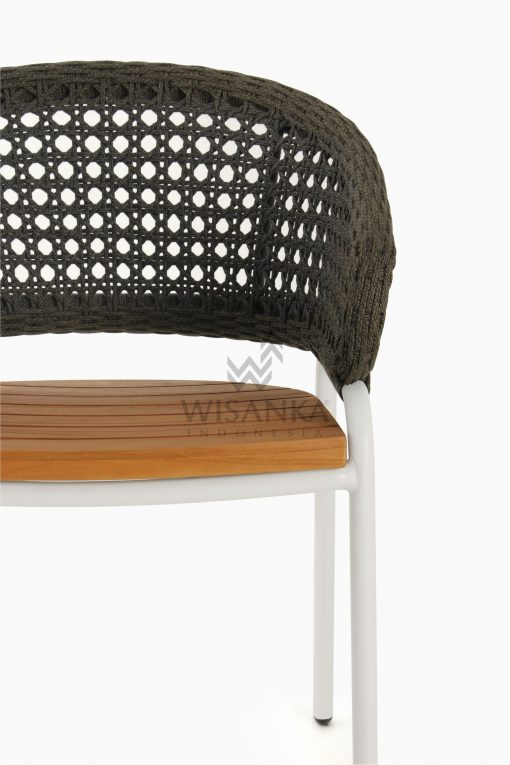 Rio Outdoor Rattan Arm Chair White Detail 1