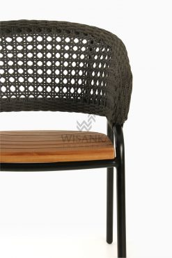 Rio synthetic rope outdoor Arm Chair Black Detail 1