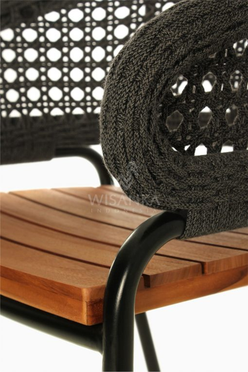 Rio synthetic rope outdoor Arm Chair Black Detail 2